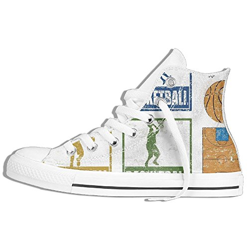 Ongyeyuan Collection Of Vintage Rubber Stamp Print Style Illustration With Basketball Players High Top Classic Casual Canvas Fashion Shoes 36