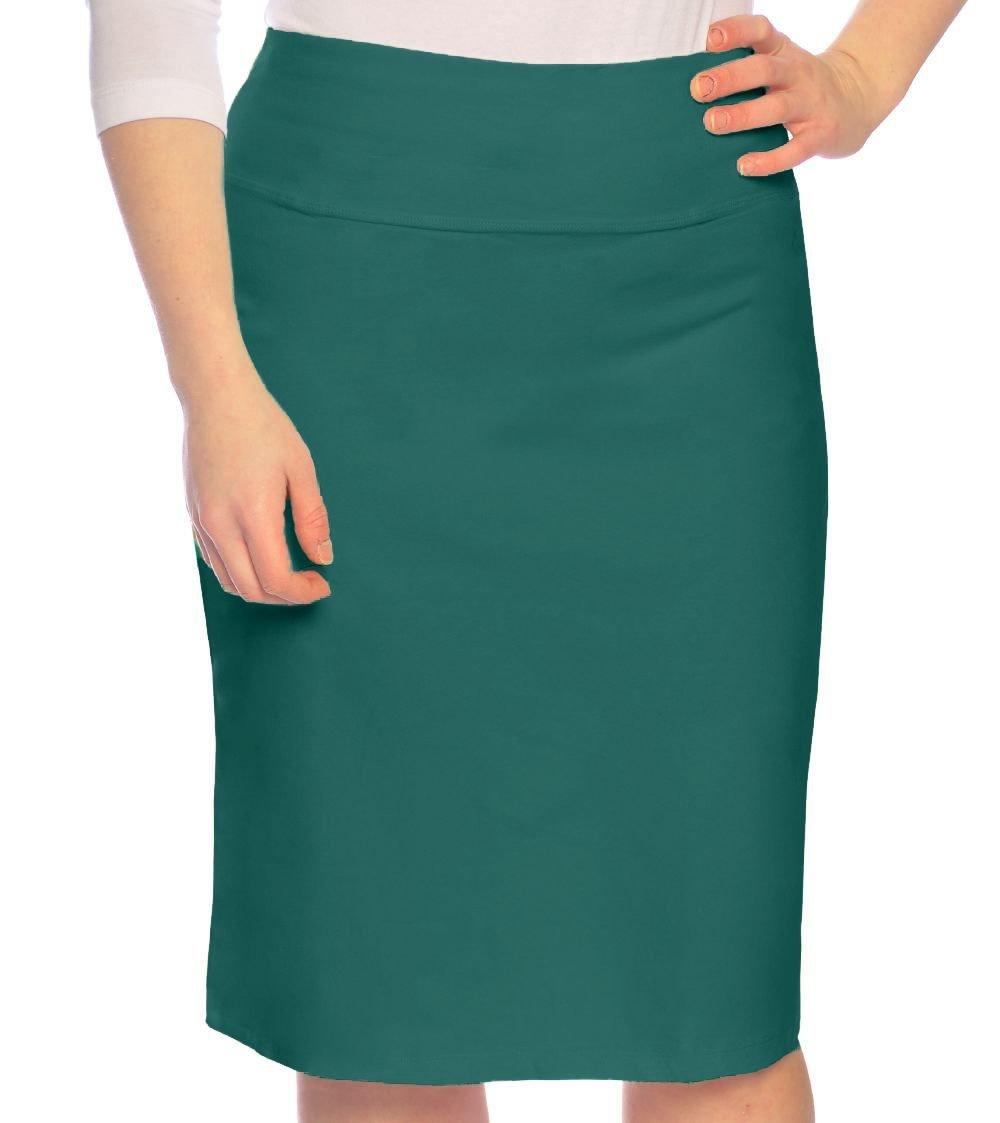 Kosher Casual Women's Modest Knee Length Stretch Pencil Skirt in Lightweight Cotton Lycra XXL Alpine Green