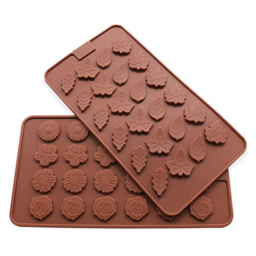 Candy Making Molds, 2PCS Bakeplus [Leaf and Flower Shape Mold] Silicone Candy Molds for Home Baking - Reusable Silicone DIY Baking Molds for Candy, Chocolate or More, Set of ()