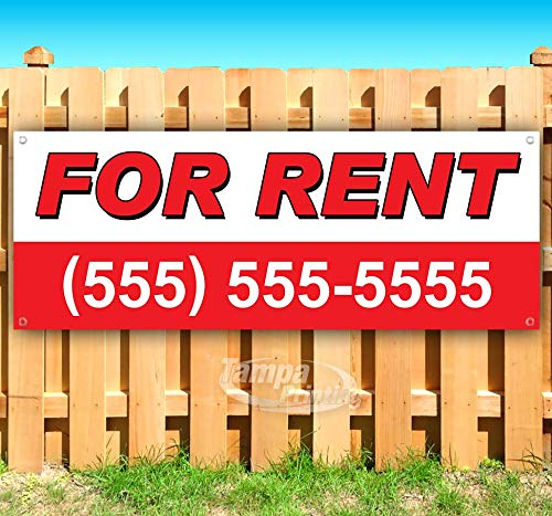 for Rent 13 oz Heavy Duty Vinyl Banner Sign with Metal Grommets, New, Store, Advertising, Flag, (Many Sizes Available) (13 Vinyl Ounce)