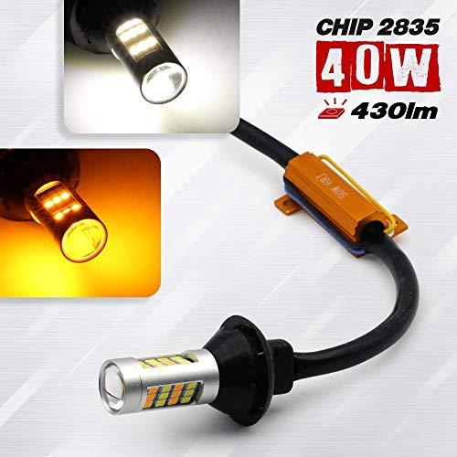 2 Bulbs 7443 Type-2 Switchback Error-Free 2835 42-LED Turn Signal Light Bulbs White-Amber (3157/7443/1157) (7443, White/Amber)