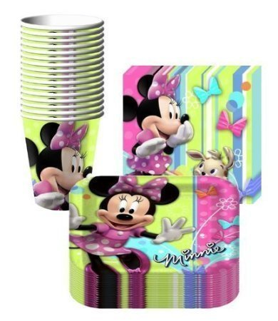 Disney Minnie Mouse Bows Party Supplies Pack Including Plates, Cups and Napkins- 16 (Minnie Mouse Plates)