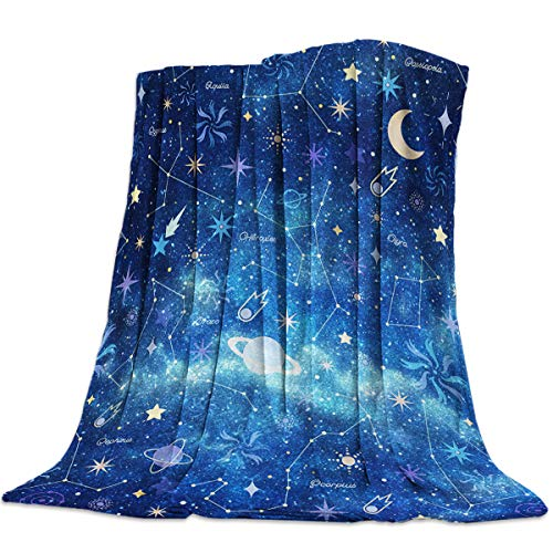 Womenfoucus Flannel Fleece Throw Blanket Ultra Soft Warm Fuzzy Plush Lightweight Microfiber All Season Bed/Couch Blankets - Twin Size 50 x 60 Inch, The Vast Universe and Planet