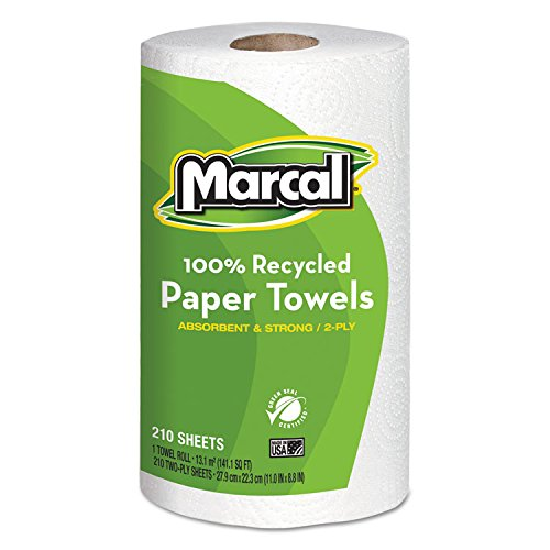 Marcal 6210 Small Steps Premium 100% Recycled Jumbo Paper Towel Roll, 2-Ply, 9'' Width x 11'' Length, White, 210 Sheets per Roll (Pack of 12)