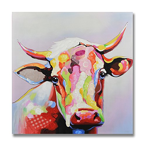 SEVEN WALL ARTS- Modern Colorful Cow Painting Cattle Pictures Animal Painting Decorative Artworks for Bedroom Living Room Kitchen Room Decor 24 x 24 Inch