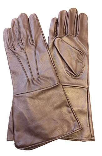 MEN'S MEDIEVAL RENAISSANCE COSTUME COSPLAY SWORDSMAN UNLINED LEATHER GLOVES GAUNTLETS (SMALL, BROWN)