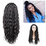 Jiayi Synthetic Lace Front Wigs Loose Curl Wigs Glueless Heat Resitant Long Curly Wave Wig for Black Women(24inches,1B)