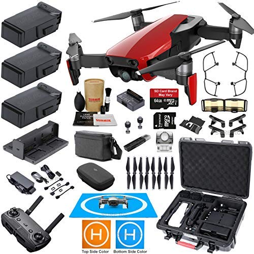 DJI Mavic Air Fly More Combo (Flame Red) with 3 Batteries, Bundle Kit with Rugged Carrying Case & Must Have Accessories