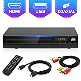Jinhoo DVD Player for TV, All Region Free DVD CD Recorded Discs Player with HDMI & AV Output (HDMI & AV Cable Included), HD1080P Supported, Built-in PAL/ NTSC, Coaxial Port, USB Input, Remote Control