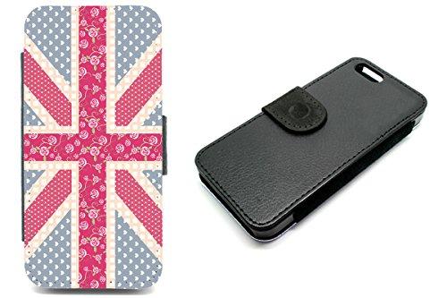 iPhone 5/5S Wallet Hülle UNION JACK Flower Muster niedliche Nageldesigns Rosa