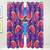 Vantaso Light Shading Window Curtains Watermelon Slice Pattern Purple Background Polyester 2 Pannels for Kids Girls Boys Bedroom Living Room 84 inch x 55 inch