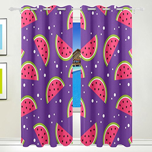 Vantaso Light Shading Window Curtains Watermelon Slice Pattern Purple Background Polyester 2 Pannels for Kids Girls Boys Bedroom Living Room 84 inch x 55 inch by Vantaso