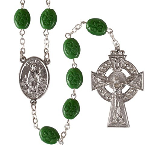 Oval Shamrock Irish Beads Rosary w/ St. Patrick Center and Celtic Cross Gift ()