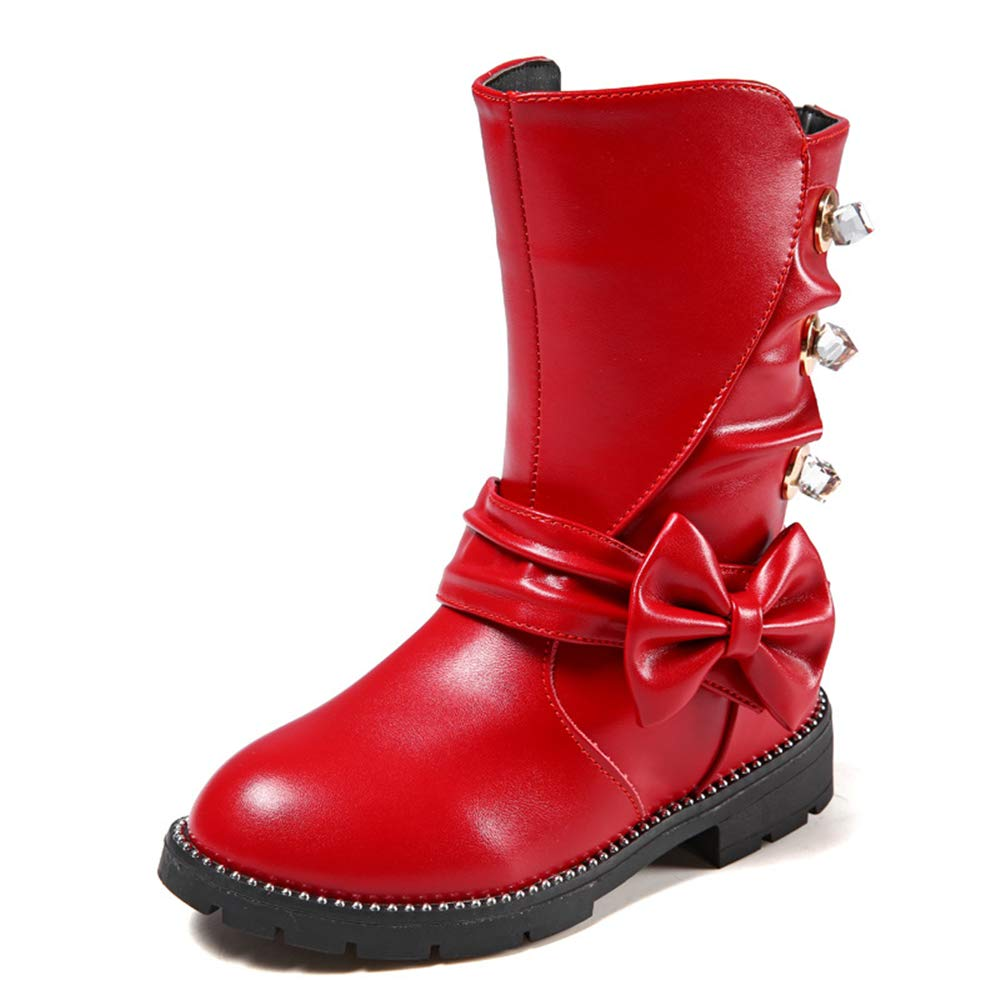 Girls Waterproof Bowknot Side Zipper Winter Boots Toddler//Little Kid//Big Kid Red EU 31//13 M US Little Kid