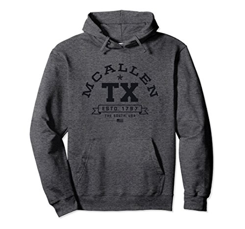 Unisex Retro McAllen Sweatshirt Hoodie College Sports Font TX USA 2XL Dark - Mcallen Tx Mcallen Sports