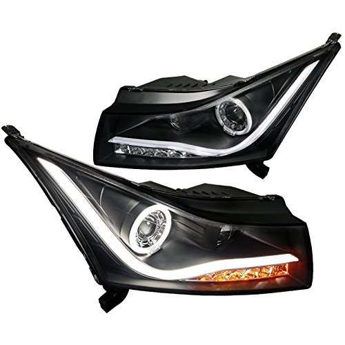 2011-2014 Chevy Cruze Led Drl Light Strip Halo Projector Headlights Black 11 12 13 14 (Halo Headlights Projector Blue)