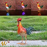 W-DIAN Solar Light Metal Rooster Decor Seven Color Changing Lights Outdoor RGB LED Garden Light Patio, Path, Lawn, Garden, Yard Decor