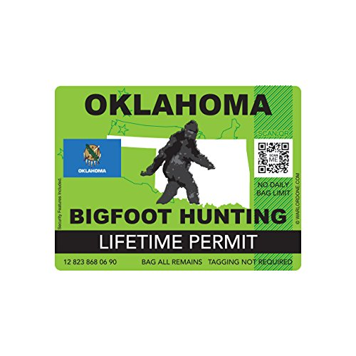Oklahoma Bigfoot Hunting Permit Sticker Die Cut Decal Sasquatch Lifetime FA Vinyl