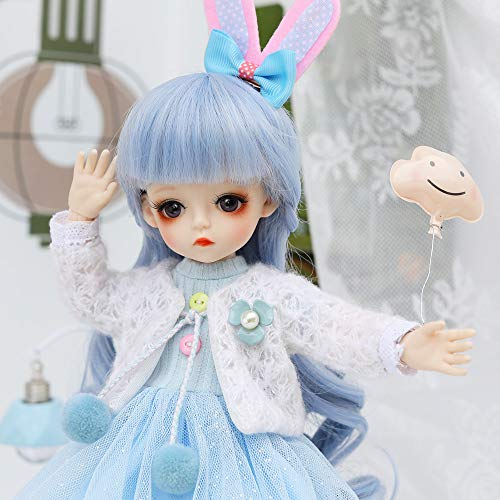 UCanaan BJD Doll, 1/6 SD Dolls 12 Inch 18 Ball Jointed Doll DIY Toys with Full Set Clothes Shoes Wig Makeup, Best Gift for Girls-Han Xia