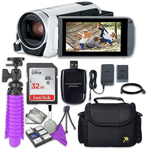 Canon VIXIA HF R800 Camcorder (White) with Sandisk 32 GB SD Memory Card + Accessory Bundle by Canon