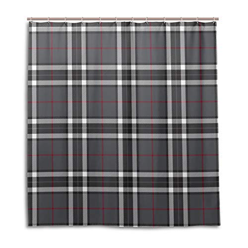(Amanda Billy Regular Gray Checkered Pattern Natural Home Shower Curtain, Beaded Ring, Shower Curtain 72 x 72 Inches, Modern Decorative Waterproof Bathroom Curtains )