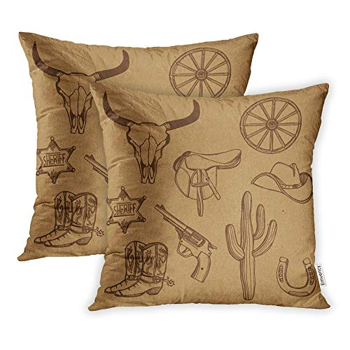 Emvency Set of 2 Throw Pillow Covers Print Polyester Zippered Wild West Western Cowboy Hat Boots Gun Sheriff Star Horseshoe Cactus Cow Scull Pillowcase 16x16 Square Decor for Home Bed Couch Sofa (Western Couch Covers)