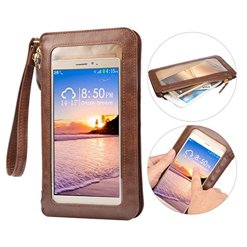 Touch Screen Cell Phone Bag, Shoulder Messenger Bag, Rosa Schleife PU Leather Crossbody Bag Shoulder Bags Purse Pockets Bags Belt Pouch Handbag for iPhone Samsung Huawei Cell Phones (less than 6.4