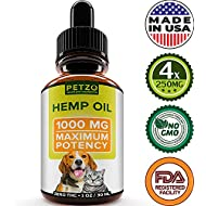 Hemp Oil for Dogs and Cats - 1000mg - Premium Hemp Extract - Advanced Formula - Grown & Made in USA - Omega 3, 6 & 9 - Supports Hip & Joint Health, Natural Relief for Pain, Separation Anxiety