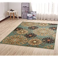 Ottomanson Ottohome Collection Seafoam Damask Design Area Rug with Non-Skid (Non-Slip) Rubber Backing, Seafoam, 5'0' x 6'6'