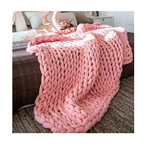 Acrylic Wool Knit (Makaor 100X120cm Chunky knit blanket Merino wool arm knitted throw Super large hand knitting yarn Pet Bed Chair Sofa Yoga Mat Rug (Pink, Size:100cmx120cm/39.4