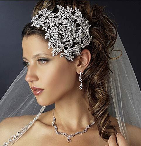 - Luxury Full Crystal Crown Tiara Silver Leaf Alloy Wedding Bride Bridesmaid Crown Tiara Diadem Crown Queen Crown Princess Hair Accessories