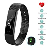 Bossblue Fitness Tracker with Heart Rate Monitor, Smart Fitness Watch Touch Screen Activity Health Tracker Wearable Pedometer Smart Wristband (Black)