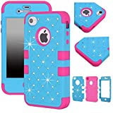 iphone 4s case bling crystal - Majesticase® iPhone 4 4S Case - 3 Layers Diamante Bling Crystals Full Body Hybrid Armor Protection Cover + FREE Stylus in Blue/Hot Pink