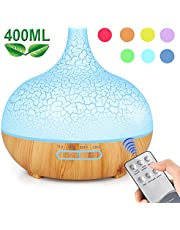 ENHOOTA Diffuser, 400ML Essential Oils Aromatherapy Diffusers Wood Grain Humidifier Electric Ultrasonic Air Aroma Diffuser with 4 Timer, Cool Mist, Waterless Auto-Off, Mist Mode, 7 Color LED Lights