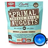 Primal Pet Food - Freeze Dried Cat Food Nuggets for Feline 14-Ounce Bag Bundle with Hotspot Pet Food Bowl - Made in USA (Chicken & Salmon)