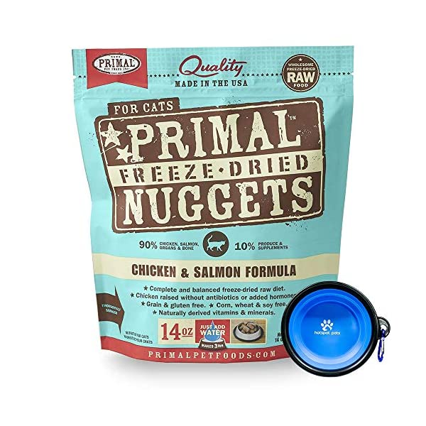 Primal Pet Food - Freeze Dried Cat Food Nuggets for Feline 14-Ounce Bag Bundle with Hotspot Pet Food Bowl - Made in USA 1