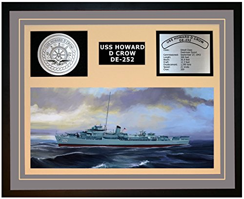 Navy Emporium USS Howard D Crow DE 252 Framed Navy Ship Display Grey