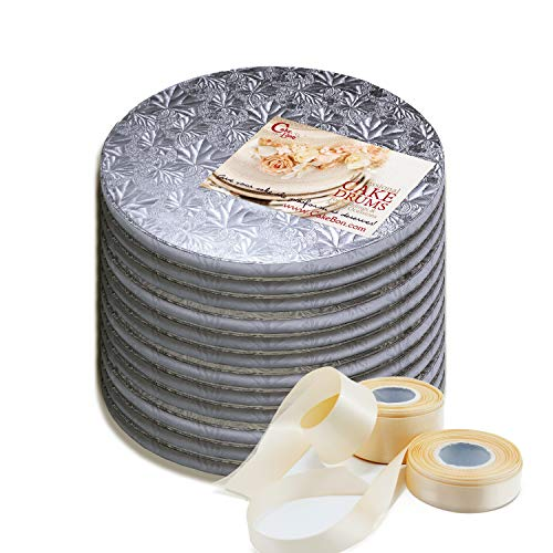 5 Piece Satin Drum - Cake Drums Round 10 Inches - Sturdy 1/2 Inch Thick - Professional Smooth Straight Edges - Free Satin Cake Ribbon (Silver, 12-Pack)