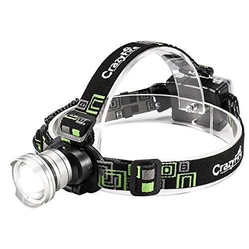 CrazyFire LED Headlamp Headlight Zoomable 3 Modes Runners Headlamps Led for Hiking,Camping,Reading,Fishing,Hunting,Outdoor Sports(Grey) ()