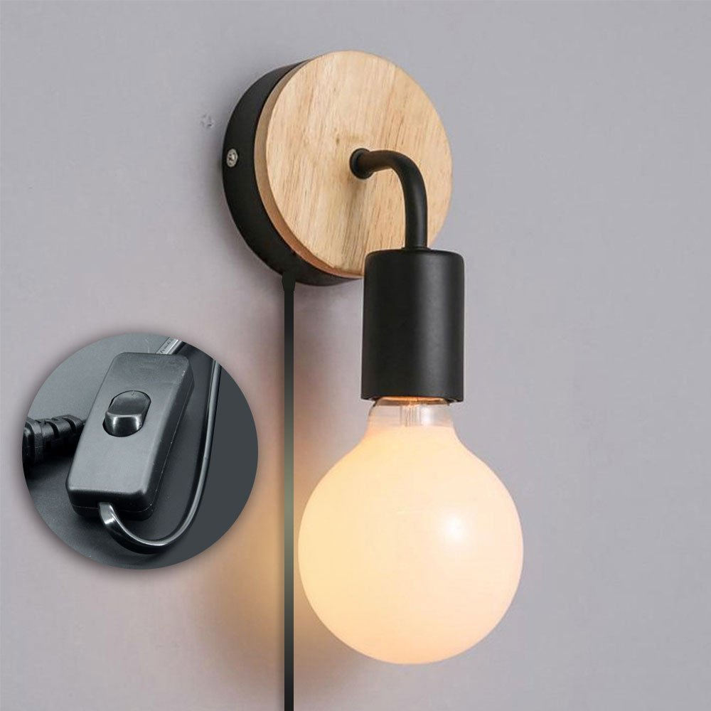 Minimalist Wall Light Sconce Plug-In E26/27 Base Modern Contemporary Style Task Wall Lamp Fixture with Wood Base and Iron Plate for Bedroom, Closet, Guest Room Hall Night Lighting Reading Lamp (Black)
