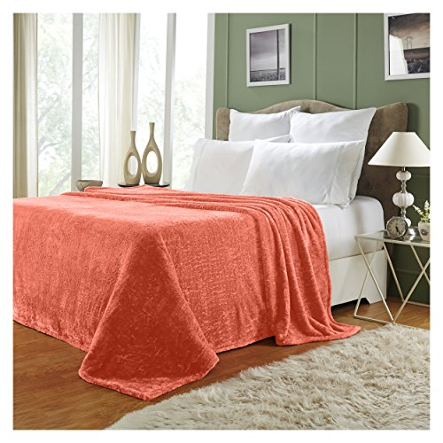 Superior Quality All-Season, Plush, Silky Soft, Fleece Blankets and Throws, Coral, King