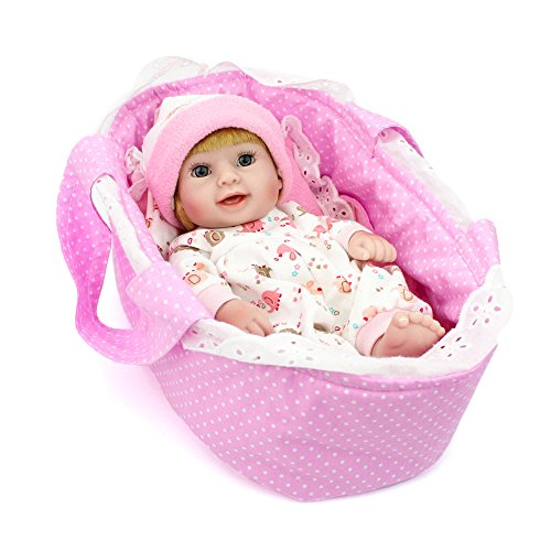 Kaydora 10 inch Full Silicone Reborn Baby Lifelike Blonde Hair Girl Dolls with Cradle