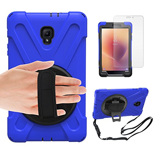 Gzerma Samsung Tab A 8 Case T380 2017, Kids Proof with Hand Strap, Kickstand, Screen Protector, 3in1 Heavy Duty Defender Rugged Bumper with Silicone Cover for Samsung Galaxy T385 Tablet (Blue)