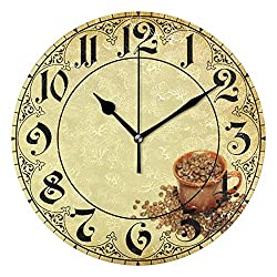 ALAZA Vintage Italian Coffee Beans Round Acrylic Wall Clock, Silent Non Ticking Oil Painting Home Office School Decorative Clock Art