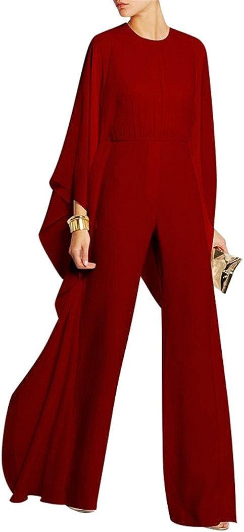 Cresay Womens Chiffon Bat Sleeve Wide Legs Formal Evening Jumpsuit Rompers