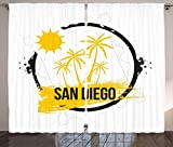 Apartment Decor Collection San Diego Palm Trees Sunshine Holidays and Sandy Beach Tourism Movies Picture Living Room Bedroom Curtain 2 Panels Set Yellow Black White