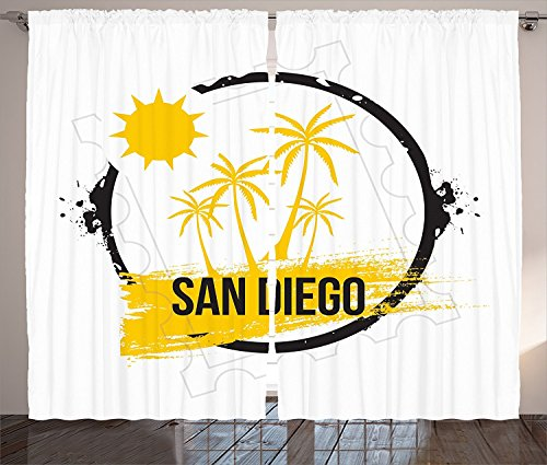 Apartment Decor Collection San Diego Palm Trees Sunshine Holidays and Sandy Beach Tourism Movies Picture Living Room Bedroom Curtain 2 Panels Set Yellow Black White by sophiehome