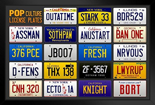 Pop Culture Movie and TV License Plates Chart Framed Poster 14x20 inch