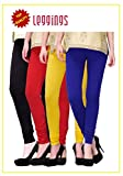Combo of-4 Ultra Soft Cotton/Lycra Churidar Basic Solid Regular and Plus 30 types of pair Best Seller Leggings for Womens and Girl- Free Sizes Fit to waist between 26 Inch-34 Inch, BLACK-RED-YELLOW-BLUE