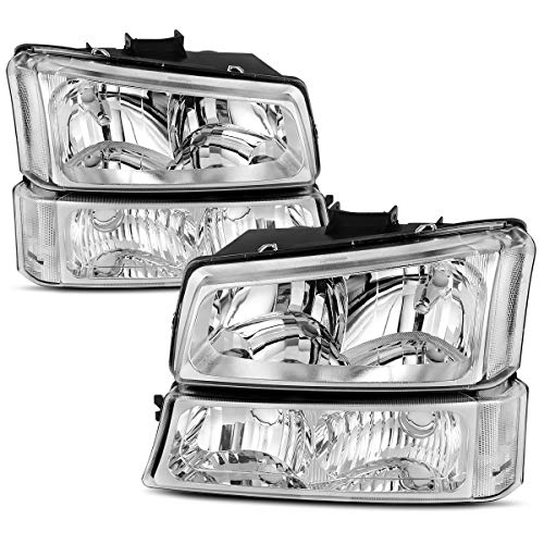 Headlight Assembly for 2003 2004 2005 2006 Chevy Avalanche Silverado 1500 2500 3500/2007 Chevrolet Silverado Classic Pickup Headlamp,Chrome Housing with Turn Signal Bumper Lamp